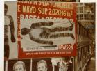 Primer Siluetazo, silueta en horizontal sobre cartel publicitario.