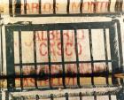 """Detalle de serigrafías con los nombres de los militares represores y """"carapintadas"""" revelados contra la democracia, en el monumento de Plaza Congreso. : Alberto Casco."""